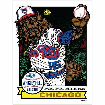Foo Fighters Poster 8/29/2015 Wrigley Field Chicago Signed/Numbered #93/100 A/E
