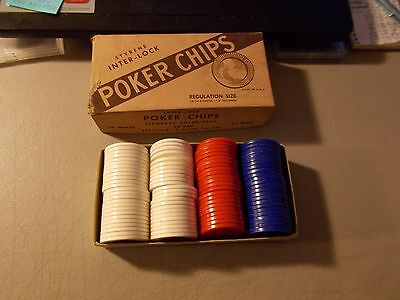 VINTAGE LOT OF 96 Styrene Inter-lock Poker Chips Regulation Size Original Box