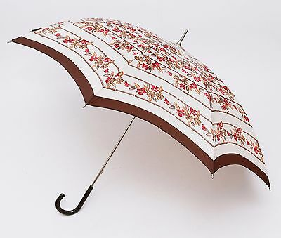 Vintage Retro St Michael's M&S Ladies Umbrella in Floral Design Plastic handle