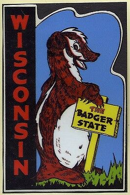 Wisconsin. Badger State. Souvenir Decal