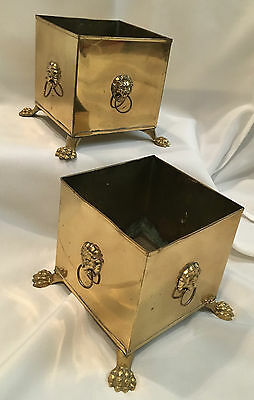 Vintage Pair of Hand Wrought Brass Square Planter Pots with Lion Heads & Rings