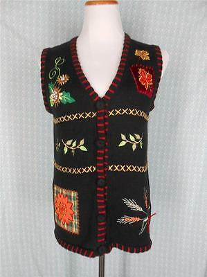 """FALL FLOWERS S Black Knit Sweater Vest 36"""" Bust Sunflower wheat Maple Pearls S4"""