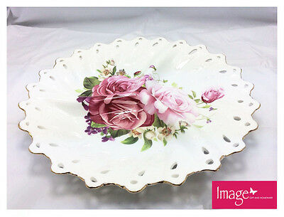 Pink Rose Platter 30cm Round Cookie Plate Fine Bone China Collectable Gift CW184