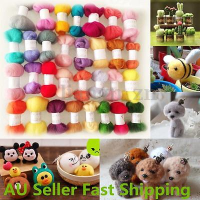 50 Colors Wool Fibre Roving Needle Felting Hand Spinning DIY Dolls Crafts Supply