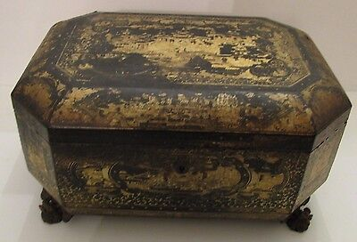 Antique Chinese Wood Lacquer Box  Bronze Foo Dog Feet Gold Detailing Large Size