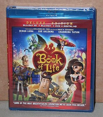 The Book of Life 3D (Blu-ray/DVD, 2015, 3-Disc Set, Digital) Brand New, Sealed