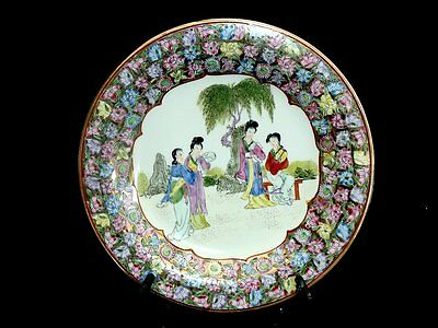 Beautiful Collectable Hand Painted Enamelled Family Rose Cabinet Plate China C 1