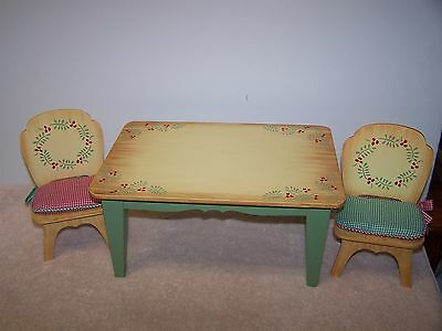Muffy Vanderbear New England Country Christmas Table And Chair Set W/ Cushions