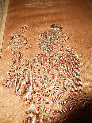 """Antique Chinese/Japanese Silk Embroidery 7.5"""" X 5.5""""**Unique"""