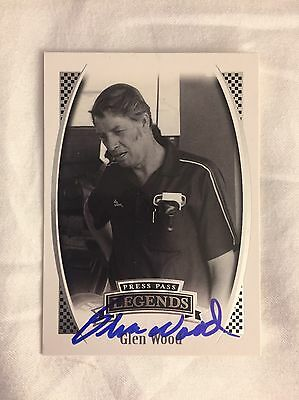 Glen Wood signed press pass legends Trading Card Autographed