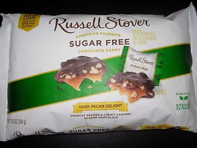 Russell Stover Sugar Free Dark Chocolate PECAN & CARAMEL Delights Candy 10 OZ