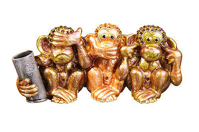 Decorative Desktop Business Card & Pen Holder Three Wise Monkeys
