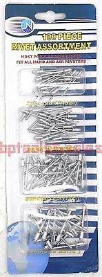 "100pc Pop Rivet Assortment Set 1/8"" 5/32"" 3/16"" 7/32"" Aluminum Pop Rivets Set"