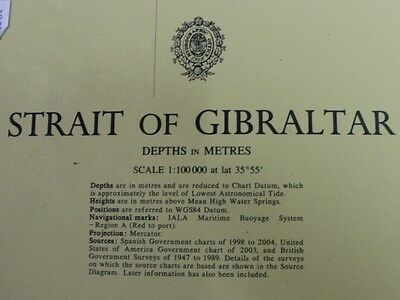 142 Strait Of Gibraltar Nautical Chart Map Navigation Rare Collectables