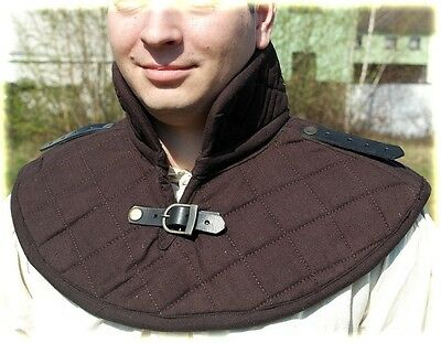 cotton padded gorget neck collar medieval armour leather shoulder Straps black