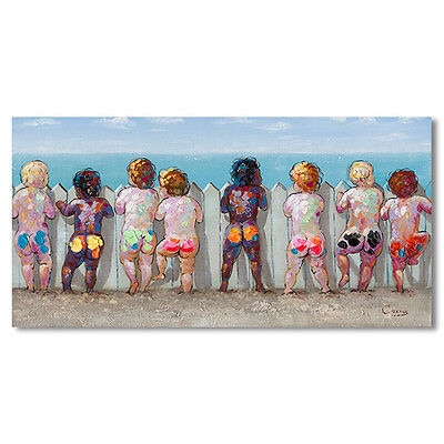 Canvas Boys at Beach Print Wall Art Picture Hanging Modern Colorful BIG 140cm