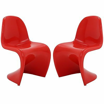 LexMod Slither Dining Side Chair Red Set of 2