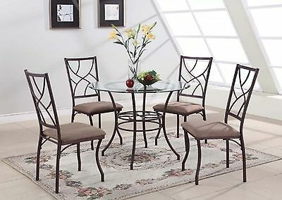 King's Brand 5 Pc. Set Round Glass and Metal Dining Room Kitchen Table and 4 ...
