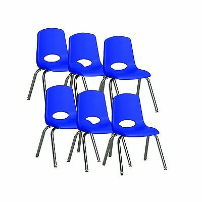 ECR4Kids School Stack Chair with Chrome Legs/Nylon Swivel Glides 14-Inch Seat...