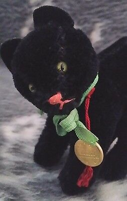 Vintage Hermann Teddy Original miniature  Black  Cat with mohair and tag