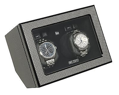 BOXY WOODEN DOUBLE WATCH WINDER ( Carbon Fiber Finish)
