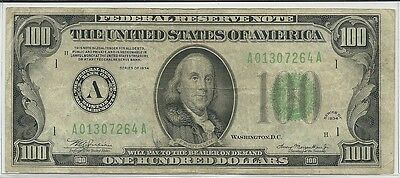 1934 US $100 Federal Reserve Note FRN * Federal Reserve Bank of Boston