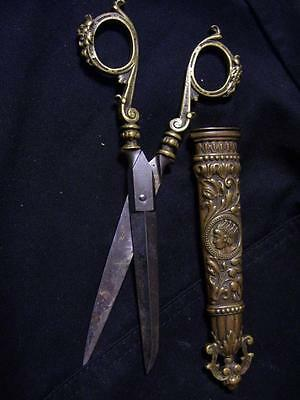 Antique Scissors With Sheath Germany Brass Bonze (7-1/2 inches blades 3-1/8)