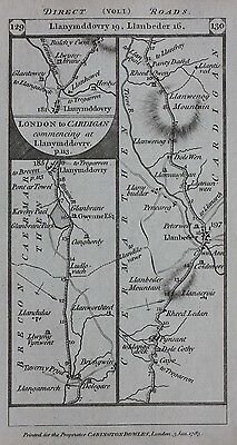 Original antique map WALES, BRECON, CARMARTHEN, CARDIGAN, Paterson 1785