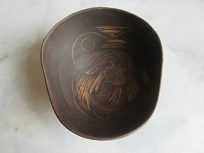 Mid Century Modern Italy  Centerpiece Pottery Bowl With Owl  Raymor Era,