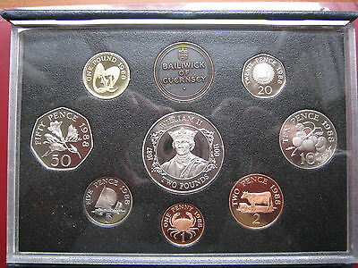 Guernsey 1988 Royal Mint Proof 8 Coin Set coinage Collection 1 Penny - 2 Pound