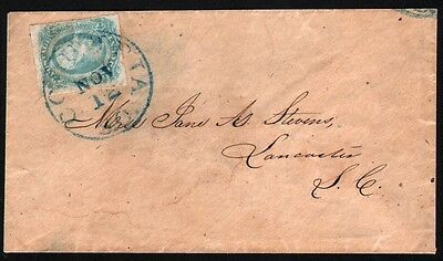 Confederate States #12 on cover Columbia SC to Lancaster SC Handsome example