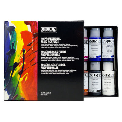 Golden Fluid Artists Acrylic Professional Artists Set 10 x 30ml