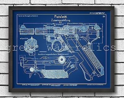 PATENT Blue PRINT Luger Parabellum Drawing P08 9mm Replica WW1 WWI German Poster