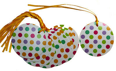 50 x SPOTTY EASTER Gift Tags & Tying Ribbon - Easter Baby Shower Birthdays