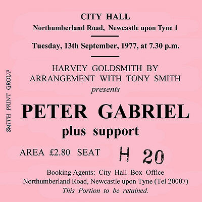 Peter Gabriel Concert Coasters Ticket September 1977 High quality Coaster