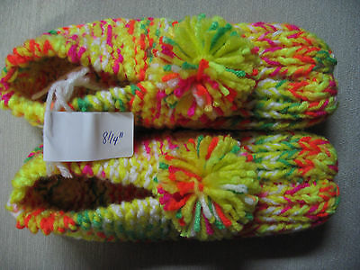 """New Amish Handmade House Slippers Bright Neons Womans Sm Mans X Sm 8 1/4"""""""