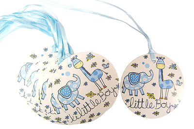 50 x BLUE LITTLE BOY Gift Tags & Tying Ribbon - Baby Shower New Born Boy Gifts