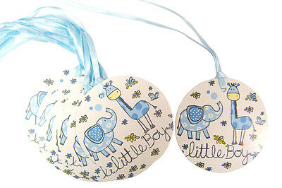 50 x Blue Little Boy Gift Tags & Ribbon - Christening, Baby Shower, Newborn Gift
