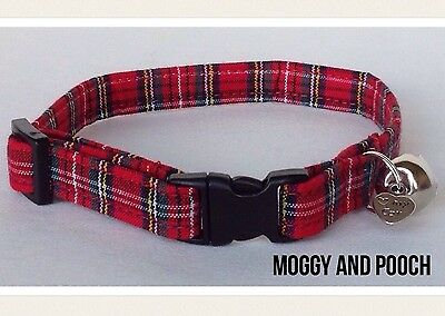 Handmade Tartan Fabric Cat Collar, Safety Release Buckle, Bell And Charm