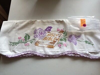 """Vintage Hand Embroidered """"holy Bible"""" Standard White Pillow Case"""
