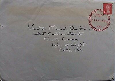 GREAT BRITAIN 1980s COVER WITH REVENUE PROTECTION SWINDON 19P TO PAY CANCEL