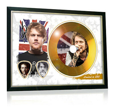 Danny Worsnop Asking Alexandria Flag Style Signed Gold Disc Display