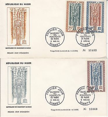 Niger 1964 2 FDC's save the monuments of Nubia's Temples Unesco