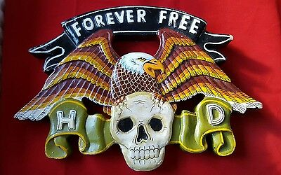 Forever Free Harley Davidson Eagle And Skull Carved Painted Wooded Plaque Sign