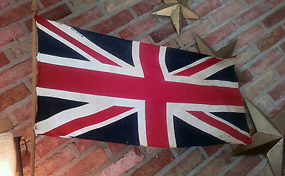 Nice Vintage- Union Jack flag- 40's/50's on stick with finial - 'British Made'