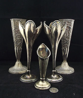 """5  Silver Plated  Vase Lot England Japan W Deco Style 5"""" To 7.5"""" Display  Props?"""