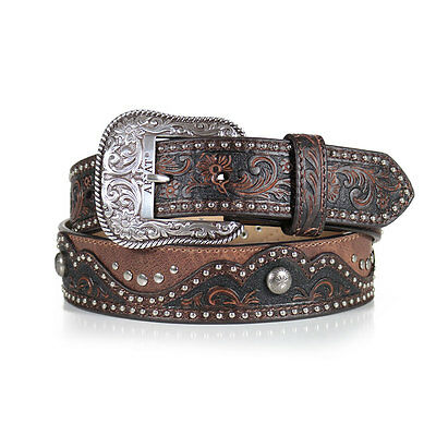 Ariat Women's Embossed Nailheads Floral Brown Western Belt A1520202