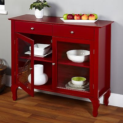 Layla Red Buffet Transitional Tempered Glass Door Compact Dinning Room Furniture