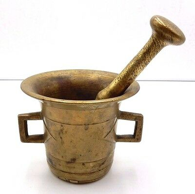 """ANTIQUE 19th CENTURY SOLID BRASS APOTHECARY 4-5/8"""" MORTAR & PESTLE"""