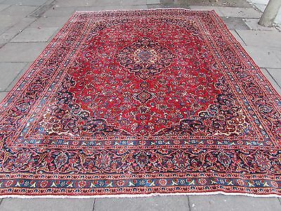 Shabby chic Old Traditional Hand Made Persian Oriental Red Wool Carpet 370x280cm